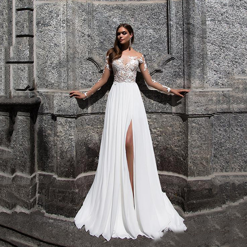 Beach Bohemian Wedding Dresses 2020 Sexy High Side Split Lace Applique Chiffon Long Sleeves Wedding Dress Bridal Gowns Boho