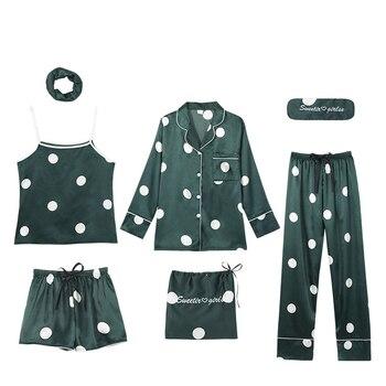Pajamas Women Spring Autumn Green Lingerie Set Fresh Polka Dot Silk 7-piece Sommeil Tops Pajama