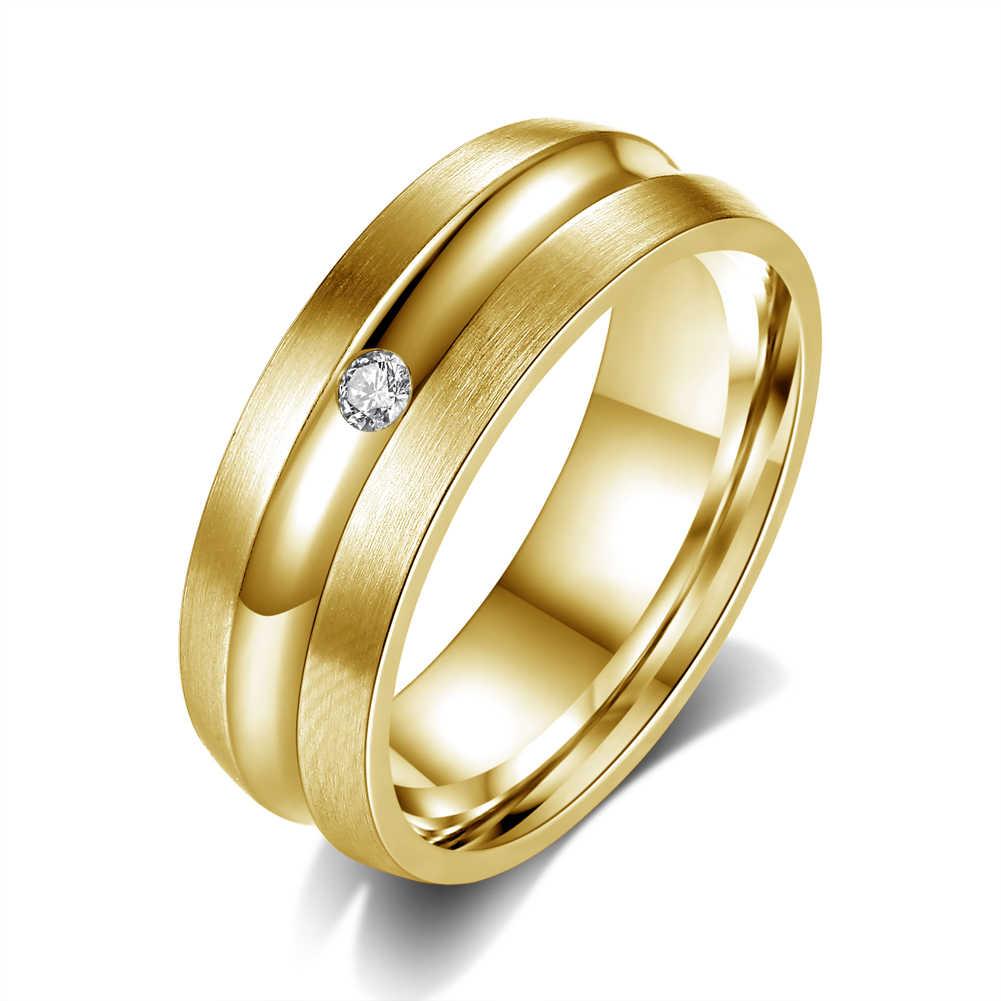แหวนสแตนเลสใหม่รอบ Zircon แหวนไทเทเนียมเหล็กชุบสีขาวแหวนทองสำหรับผู้หญิงเครื่องประดับอุปกรณ์เสริม