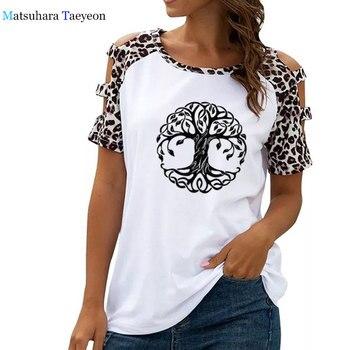 Mandala círculo camiseta con árboles mujer suelta Camiseta de manga corta Mujer divertida camisetas moda leopardo ahueca hacia fuera las camisetas del hombro