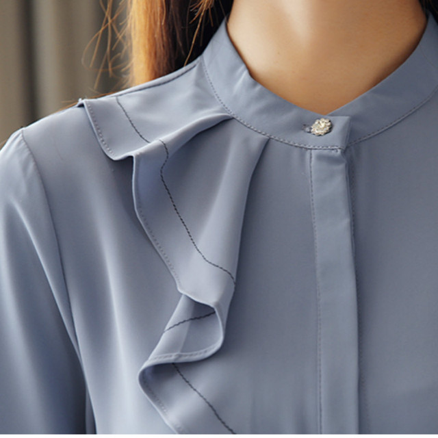 Women Spring Autumn Chiffon Blouses Tops Chiffon Blouses Shirts Ladies ruffless Blouse Femme Long Sleeve Plus Size Blusas 4