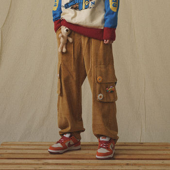 QWEEK Japanese Streetwear Corduroy Pants Women Vintage Brown Cargo Pants Pockets Oversized Korean Style Wide Leg Trousers Female 1