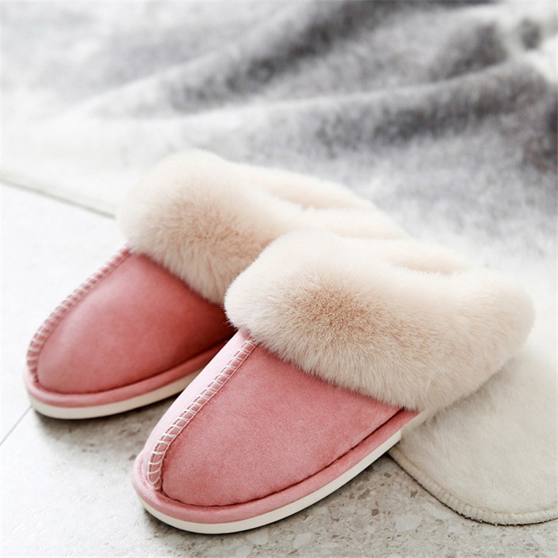 JIANBUDAN Indoor plush comfortable soft slippers Men and women winter warm home shoes Flat suede plush Female Cotton shoes 1