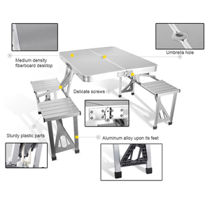 Image 2 - Portable Folding Table And Chair Outdoor Picnic Foldable Aluminum Alloy Desk Chairs