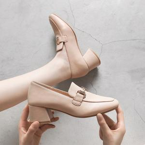 Image 4 - New Fashion Spring Autumn Women Pumps 2019 Beige Black PU Leather Shoes Office Lady Designer Fashion Casual Shoes