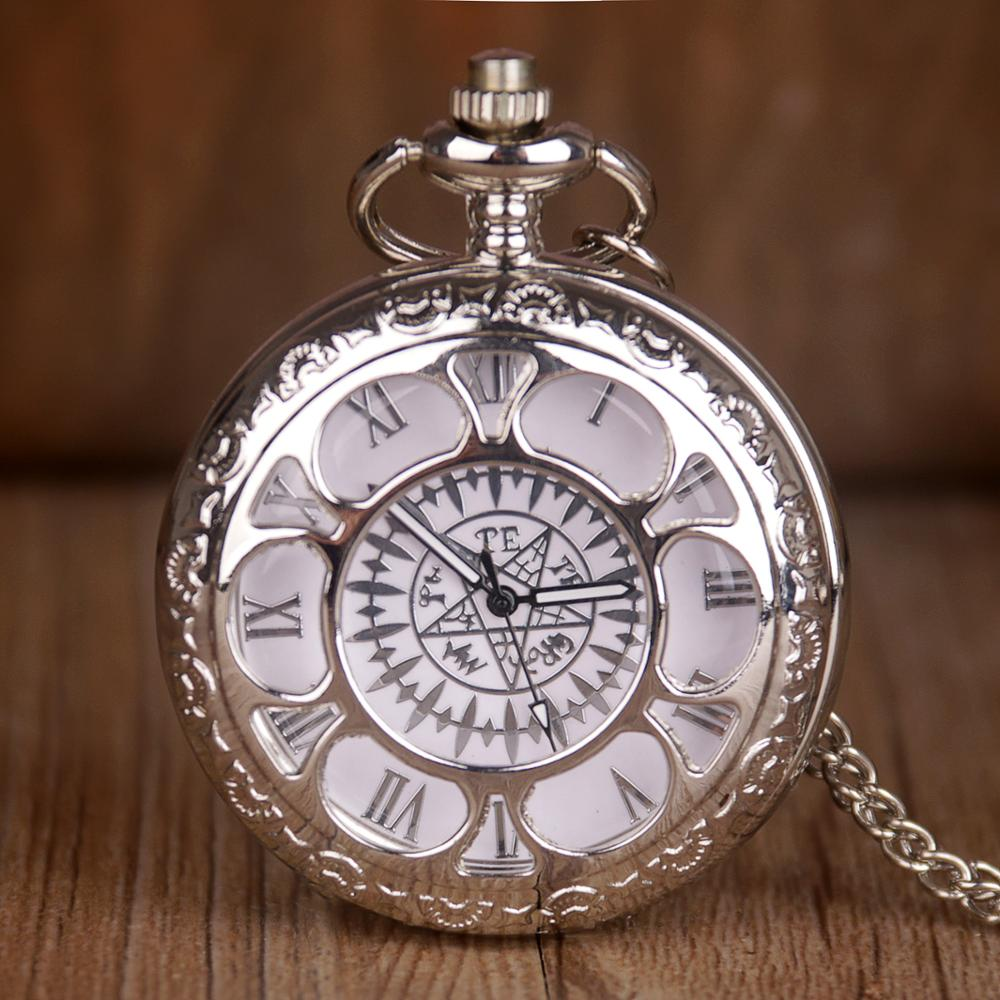 New Durable Flower Pattern Pocket Watch Hunter Case Necklace Chain Quartz Pocket Watch Silver Romen Number Reloj De Bolsillo