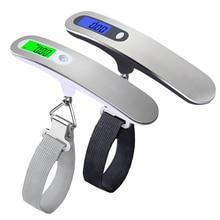 핸드 헬드 벨트 스케일 50kg/110lb LCD 디지털 여행 가방 수하물 저울 저울 저울 저울 전자 저울