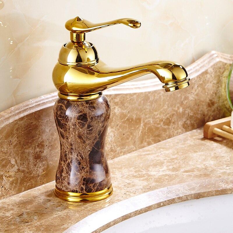 Смеситель для ванной комнаты с нефритом золотистого и розового золота, однорычажный смеситель для раковины с одним отверстием, аксессуары