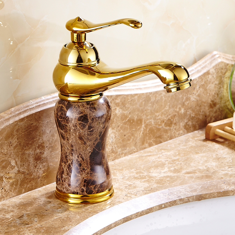 Gold & Rose Gold Jade article Bathroom Decorating Faucet Single handle Single Hole Sink Basin Faucet Bathroom Accessories