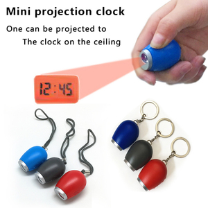 Mini Digital Projection Clock Portable LED Wall Ceiling Time Projection Watch Magic Night Light Electronic Clock key chain decor