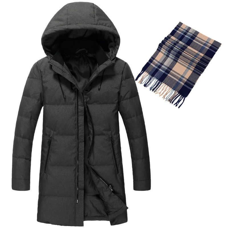 Высококачественная зимняя мужская куртка на утином пуху 90%, большой размер, пуховая куртка повседневная верхняя одежда, теплый пуховик для снежной погоды, пальто