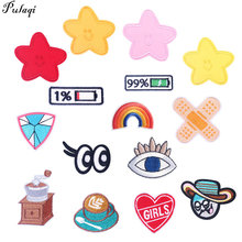 Star Patch Embroidery Patches For Clothing Battery Rainbow Stickers On Clothes Appliques Stripes Bandage Kids T-Shirt