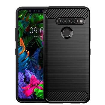 Перейти на Алиэкспресс и купить Прочный мягкий чехол для телефона из углеродного волокна для LG G8s G8 G7 G6 V30 V40 V50 K30 K40 K50 Q6 Q7 Q60 W10 W30 эластичный ТПУ гелевый Чехол для задней панели