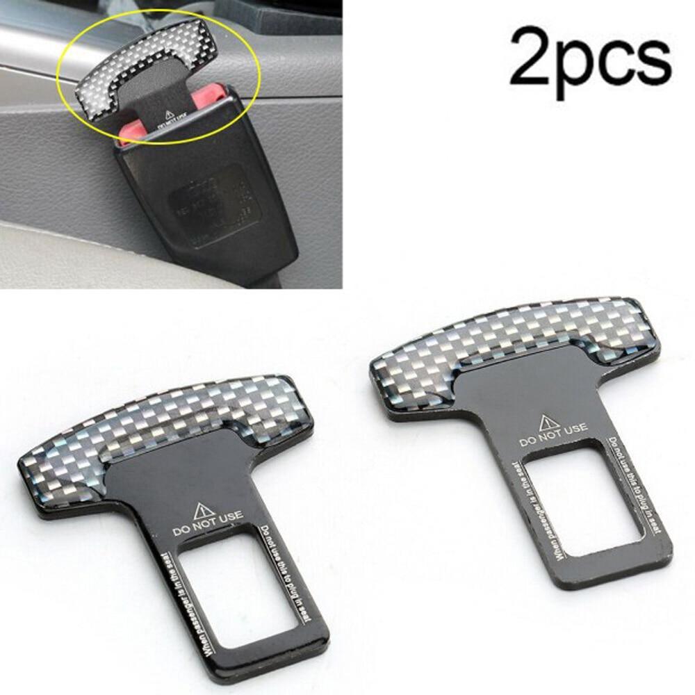 2pcs Car Safety Seat Belt Buckle Alarm Stopper Clip Clamp Carbon Fiber Universal
