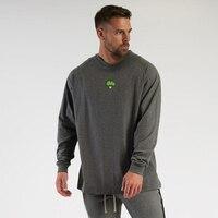 Camiseta holgada de gran tamaño para hombre, camiseta de manga larga informal de algodón a la moda, ropa de gimnasio, camisetas de Fitness para culturismo, novedad de otoño