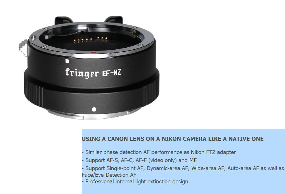 Fringer EF-NZ Auto Focus Lens Adapter for Canon Sigma Tamron EF//EFS to Nikon Z Z6 Z7 Z50