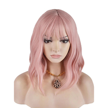 цена на HAIRJOY  Women  Medium Synthetic Hair Wig Pink  Curly Neat Bang  Wigs Free Shipping