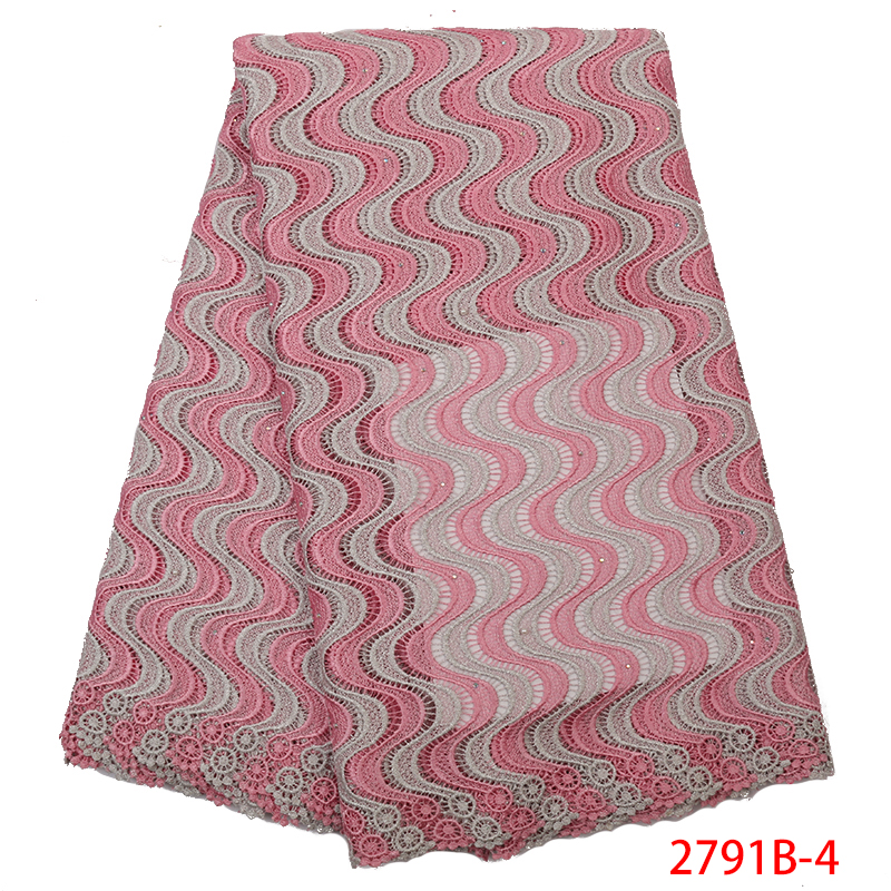 2019 Latest African Guipure And Cord Lace,High Quality Nigerian Mesh Lace With Stones,Water Soluble Chemical Lace Fabric KS2791B