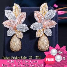 CWWZircons 3 Ton Gold Luxus Große Blatt Tropfen Blume Micro Zirkonia Gepflastert Naija Hochzeit Ohrring für Frauen CZ644