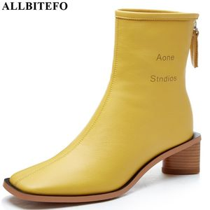 Image 2 - ALLBITEFO High quality genuine leather women boots Pure color Autumn Winter comfortable ankle boots fashion boots Square toe