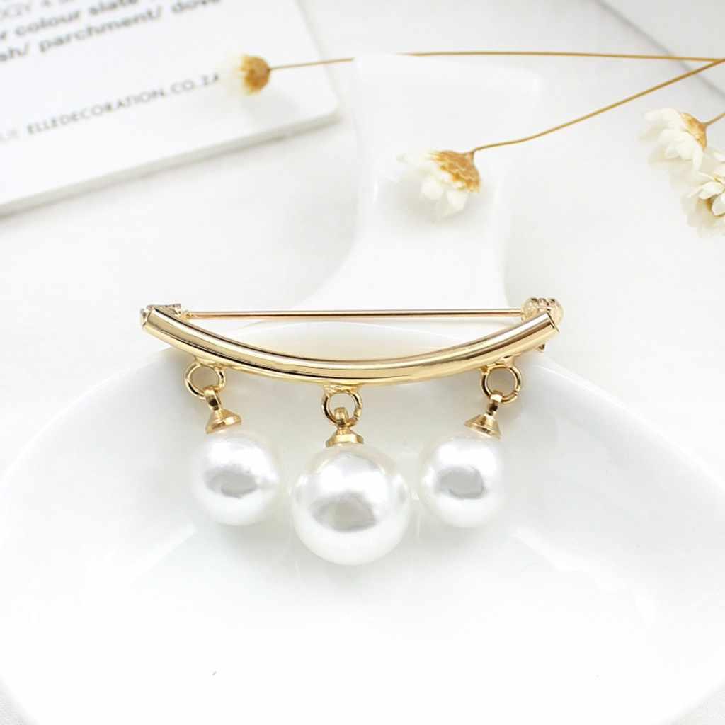 Femmes broches breloque chaude trois perles Blouse chemise col bâton broche écharpe épingle de sûreté pull bijoux mode vêtements déco #20