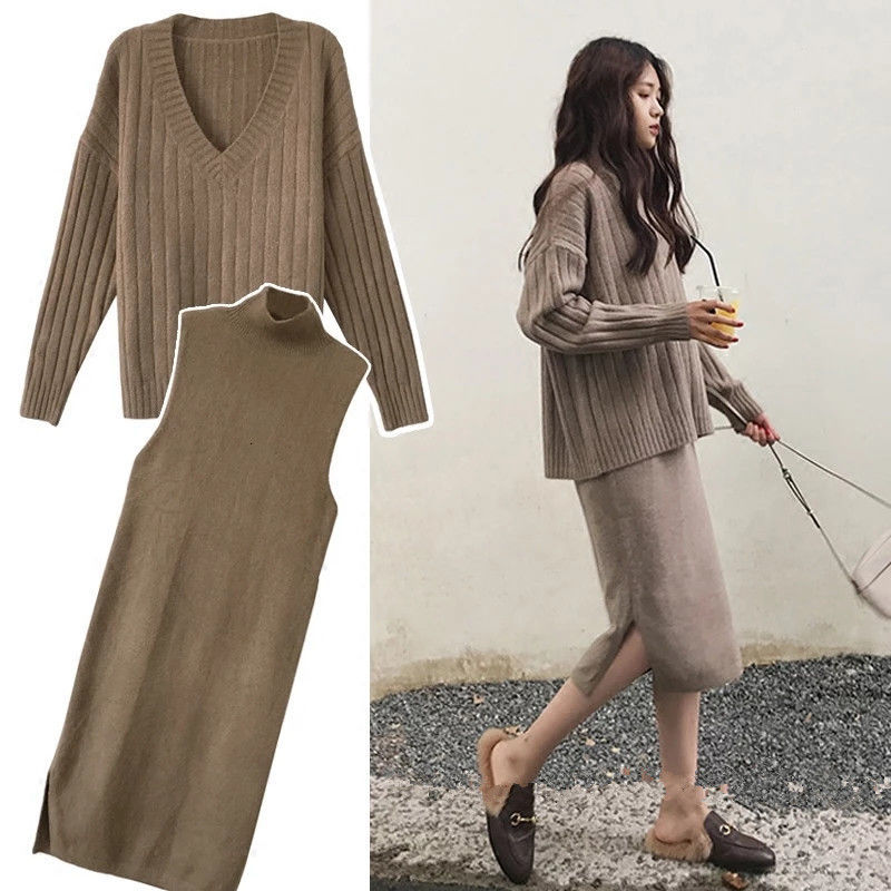 Plus Size 4XL Winter Women Set Long Sleeve V Neck Pullover And Sleeveless Long Split Sweater Dress Solid Warm Knitted Skirt Set