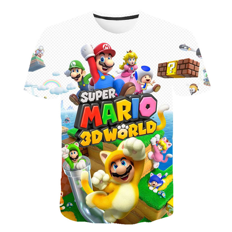Newest Video Games Mario Bros 3D Print T Shirt Unisex Anime Cartoon Games Cool Fighting TShirt Casual Style Top Kid Friend Party