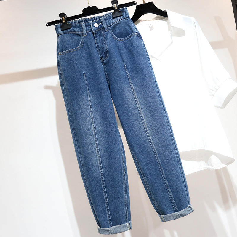 Vintage Jeans With High Waist Loose Denim Harem Pants Large Size Jeans Female Streetwear Casual Boyfriend Mom Jeans Women Q2266