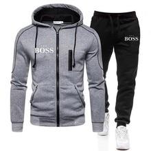 Yes Boss-Conjuntos de ropa deportiva para hombre, Sudadera con capucha y pantalones con cremallera, chándal informal de dos piezas, novedad, Otoño e Invierno