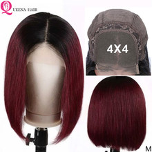 Straight Short Bob Wig 99J 613 1B/30 Blonde Ombre 4x4 Lace Closure Human Hair Wigs For Black Women Remy 180% Peruvian Lace Wig(China)