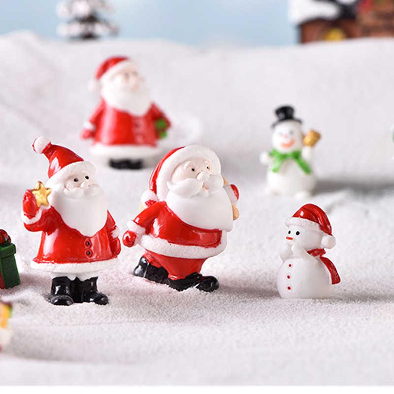 1PC 庭の装飾雪風景鉄道模型テラリウム置物クリスマスミニチュアサンタクロースそりトナカイギフト妖精