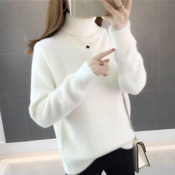 White Turtleneck  Women Sweater  Jumper Knitted  Winter Blue Pink High Collar Warm Plush Pullover Casual  Velvet Loose Plus Size недорого
