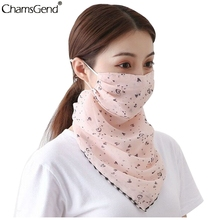 Sun Prevent Chiffon Ear Hanger Half Face Mask Breathable Triangle Bandana Neck Cover Scarf Summer Outdoor Hiking Cycling Scarf