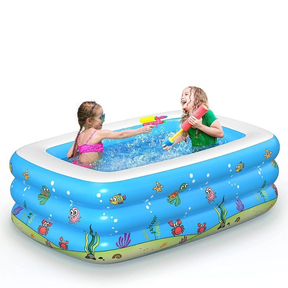 Inflatable Baby Swimming Pool Rectangular Thickened Kiddie Paddling Pool Outdoor Children Backyard Summer Water Party Pump Pool