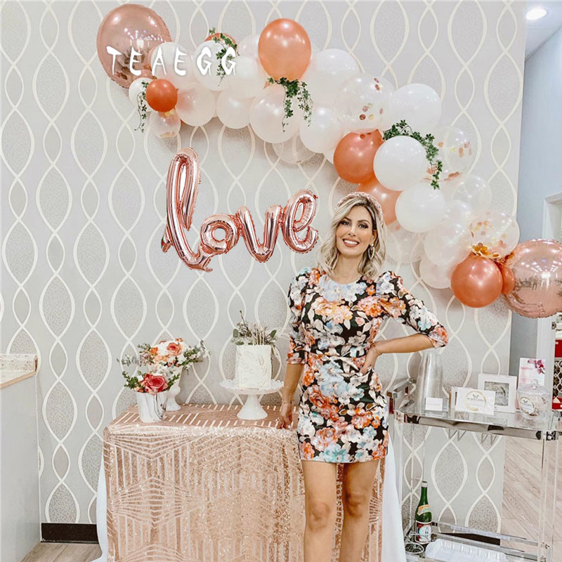 36pcs Lady Happy Birthday Party Decorations Balloon Rose Gold Love Foil Ballon White Transparent Latex Balloons Garland Arch Kit Ballons Accessories Aliexpress
