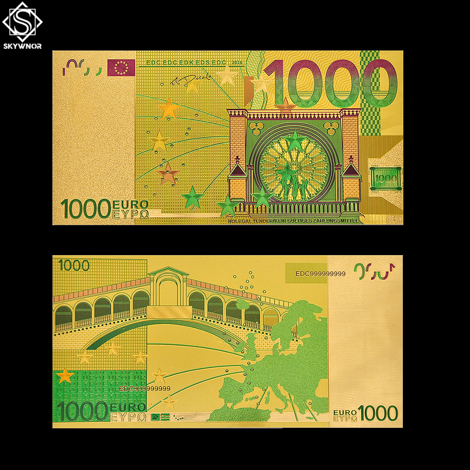 <font><b>Euro</b></font> Gold <font><b>Banknote</b></font> <font><b>1000</b></font> World Bill Note Currency Collectible Color <font><b>Banknote</b></font> Paper Money Collecting image