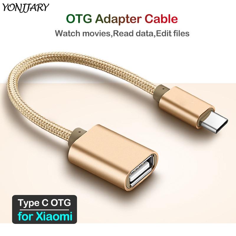 2Pcs OTG Adapter USB Type C Cable For Xiaomi Mi 10 Pro A2 A3 6 8 9 SE Lite 9T F1 OTG Data Converter For Redmi Note 8T 7 8 Pro 8A