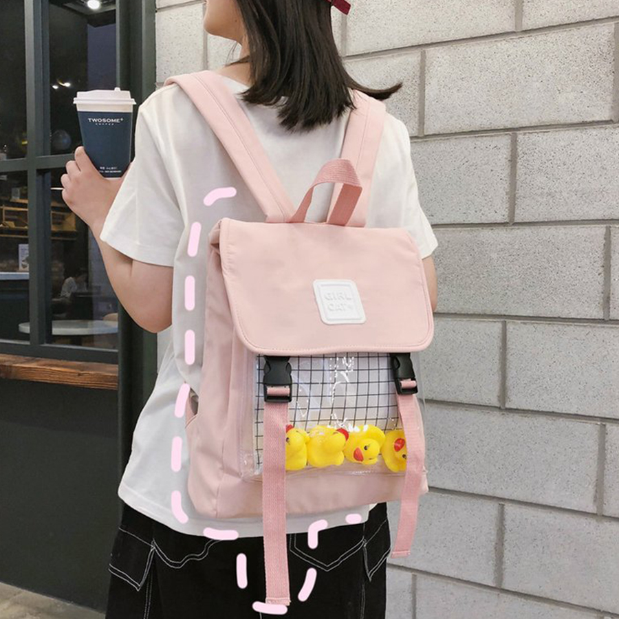 Cute Small Duck Clear Women Backpack Casual Clear Waterproof Students Backpack Harajuku Nylon Travel Schoolbag Teen Girl Bookbag