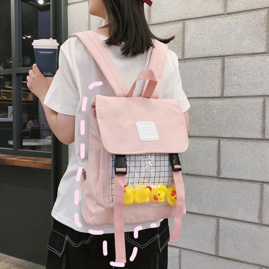 Cute Small Duck Clear Women Backpack Casual Waterproof Students Harajuku Nylon Travel Schoolbag Teen Girl Bookbag