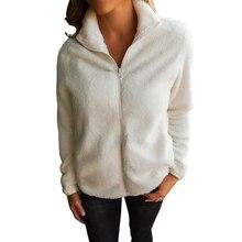 Women Fleece warm coat solid color thick Long Sleeve Zipper Jacket Lapel Casual