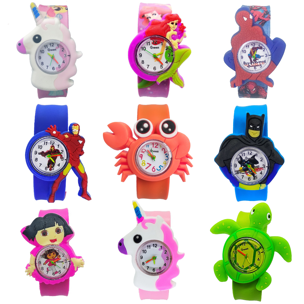 Manufacturers Wholesale Kids Watches New Cartoon Pet Team Children Watch Water Print Strap With Clap Circle Animal Baby Toy Gift