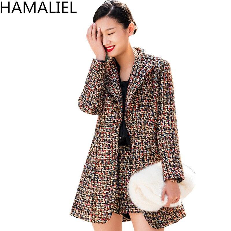HAMALIEL 2019 Luxury Autumn Winter 2 Piece Suits Fashion Women Plaid Tweed Thick Warm Turn Down Collar Blazer Coat + Shorts Suit