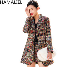 HAMALIEL 2019 Luxury Autumn Winter 2 Piece Suits Fashion Women Plaid Tweed Thick