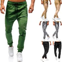 Casual Trousers Men Pants Joggers Sweats Solid color Wrinkles Tether Harlan Army green khaki