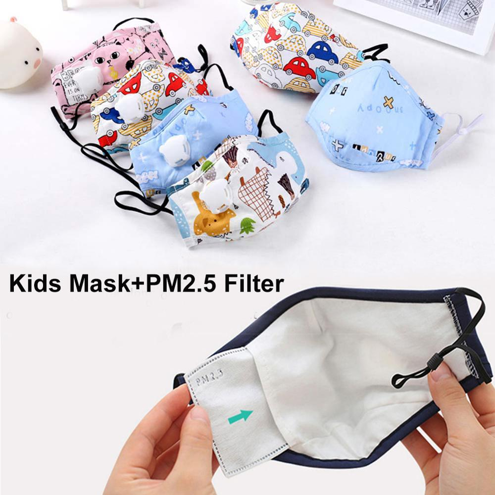 Kids Anti Pollution PM2.5 Cotton Cartoon Mouth Mask Breath Valve Filter Papers Children Anti-Dust Mask Activated Carbon Filter