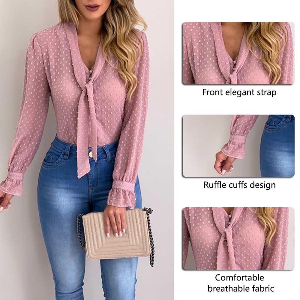 Sommer Chiffon Tops Frauen Rosa Blusen und Shirt Neue Süße Büro Stil Frauen Langarm-shirt blusas mujer de moda 2019
