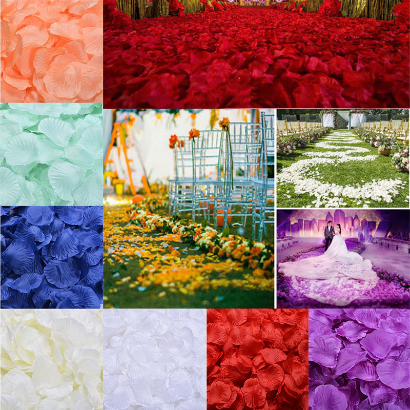 Wholesale 1000pcs/lot Rose Petals Wedding Atificial Patal Silk Flowers Decorations Marriage Party Colorful 40 Colors RP01