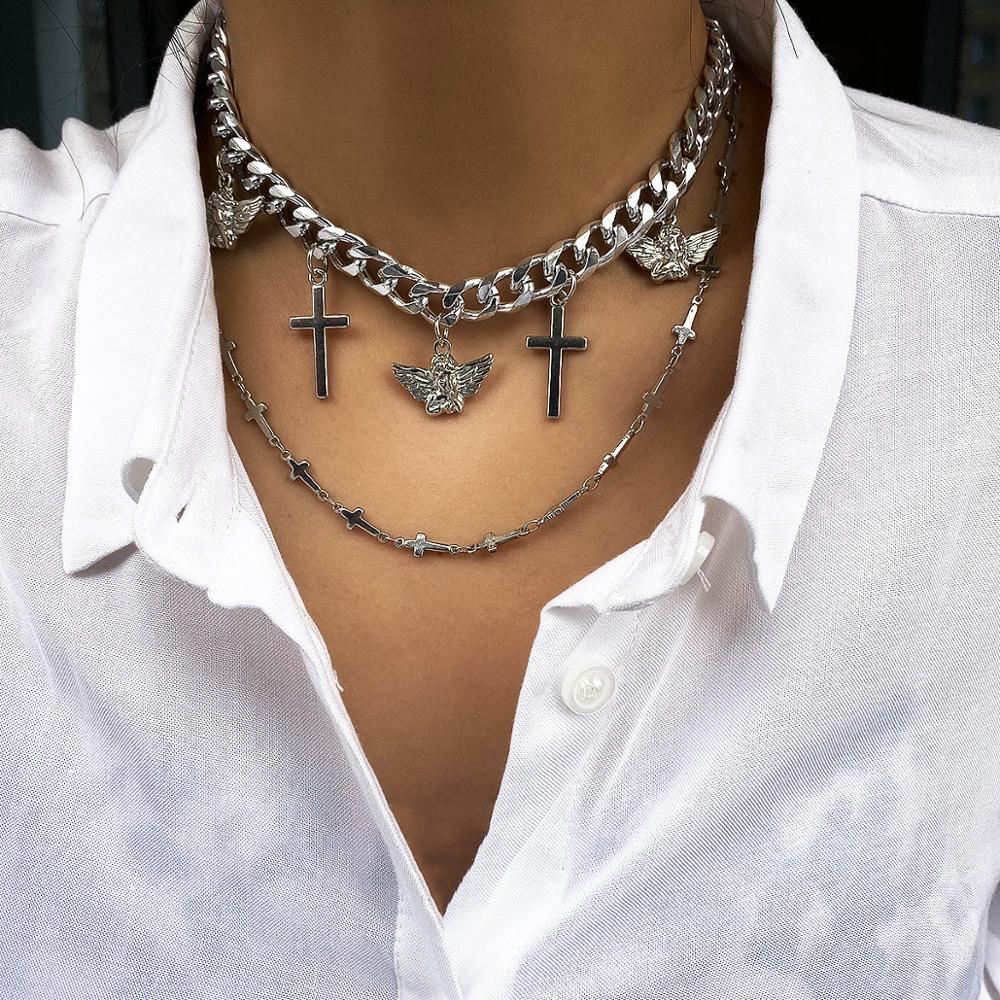 Multi Layered Curb Cuban Choker Necklace Set Cross Bird Pendant Chain Necklaces Women Hip Hop Jewelry bijoux femme