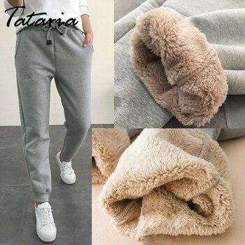 Tataria, pantalones de talla grande para S-5XL, pantalones de abrigo harén de Cachemira para mujer, pantalones deportivos de invierno, pantalones de talle alto para mujer