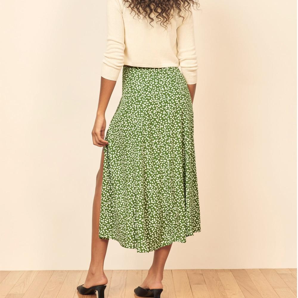 Fashion Floral Skirt Women Summer High Waist Split Beach Casual Midi Skirts Boho Elegant Vacation A Line Skirt Jupe Faldas 6